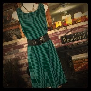 Merona Green and Navy Stiped Knit Sleeveless Dress